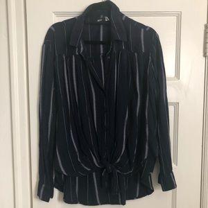 Tie front button down blouse